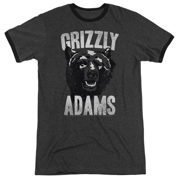 Grizzly Adams Retro Bear Adult Heather Ringer