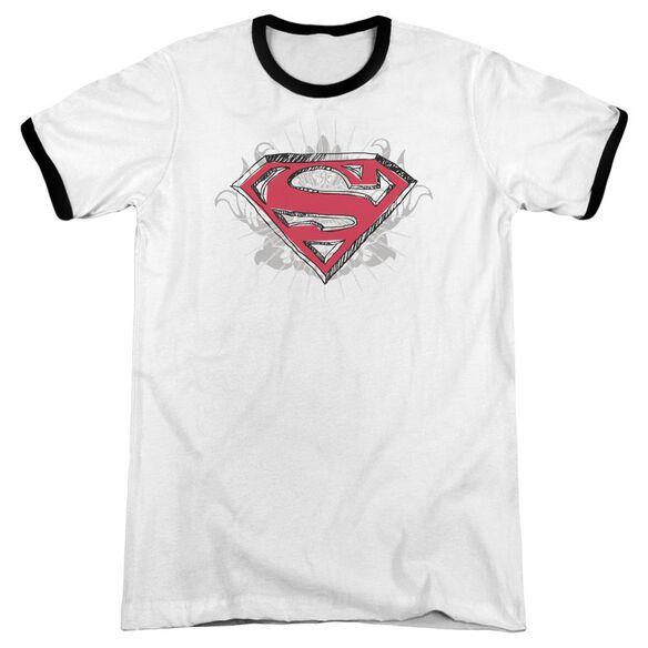 Superman Hastily Drawn Shield Adult Ringer White Black