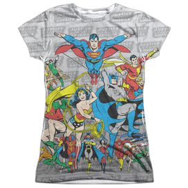 Dc Justice League Assemble Short Sleeve Junior 100% Poly Crew T-Shirt