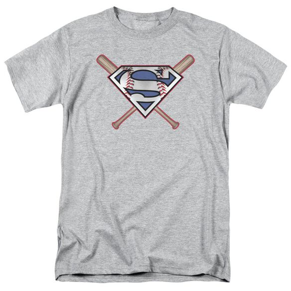 Superman Crossed Bats Short Sleeve Adult Athletic T-Shirt
