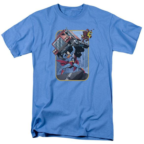 Superman Pick Up My Truck Short Sleeve Adult Carolina Blue T-Shirt