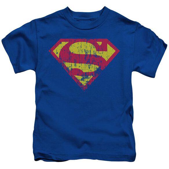 Superman Classic Logo Distressed Short Sleeve Juvenile Royal Blue T-Shirt