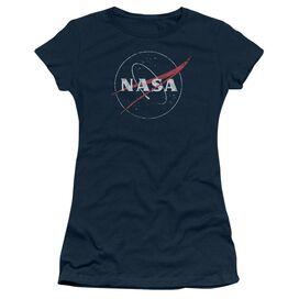 Nasa Distressed Logo Short Sleeve Junior Sheer T-Shirt