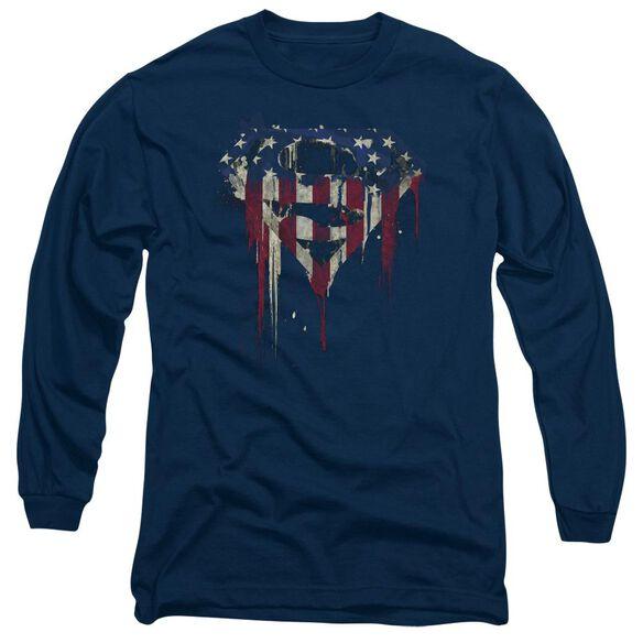 Superman Bleeding Shield Long Sleeve Adult T-Shirt