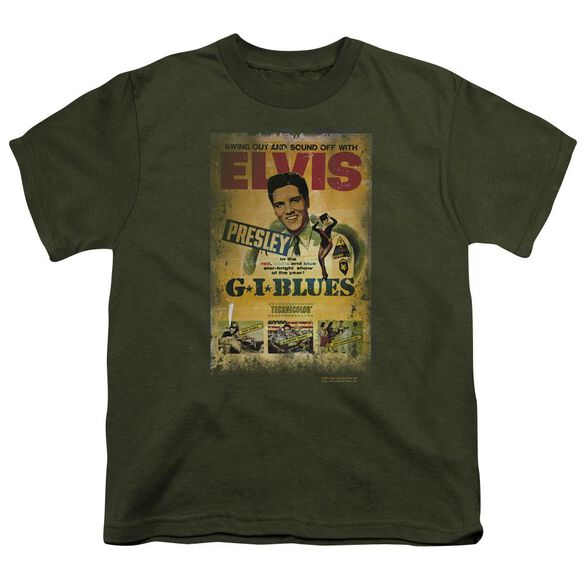 Elvis Gi Blues Poster Short Sleeve Youth Military T-Shirt