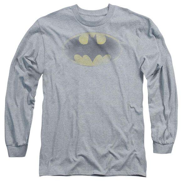 Batman Faded Logo Long Sleeve Adult Athletic T-Shirt