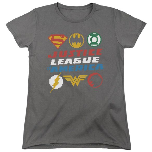 Jla Pixel Logos Short Sleeve Womens Tee T-Shirt
