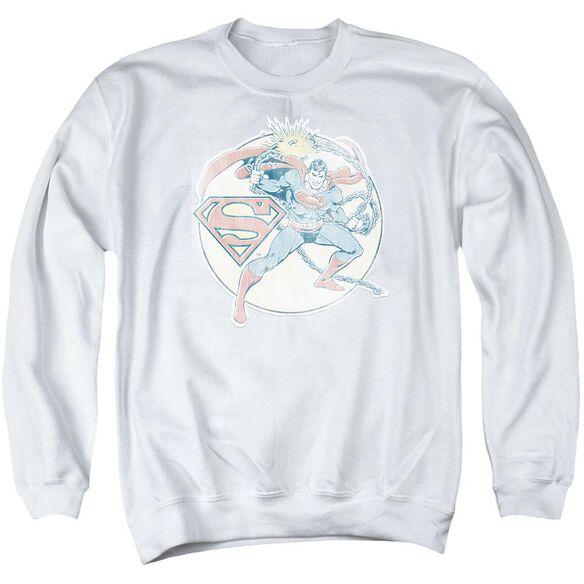 Dco Retro Superman Iron On Adult Crewneck Sweatshirt