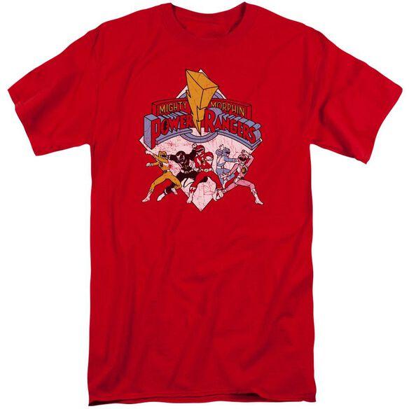 Power Rangers Retro Rangers Short Sleeve Adult Tall T-Shirt