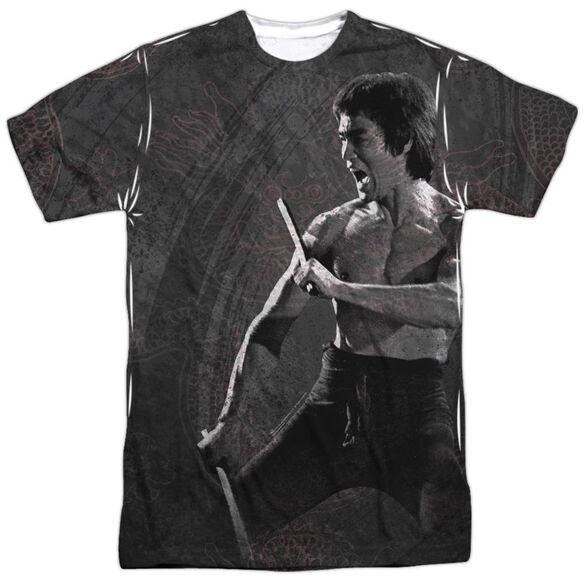 Bruce Lee Dragon Print Short Sleeve Adult 100% Poly Crew T-Shirt