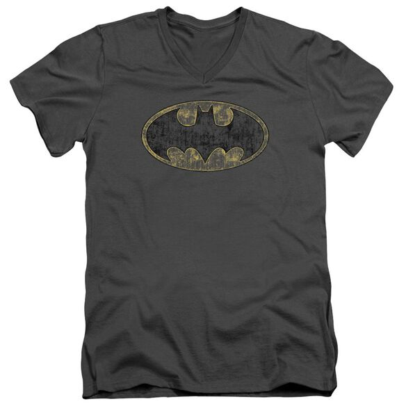 Batman Tattered Logo Short Sleeve Adult V Neck T-Shirt