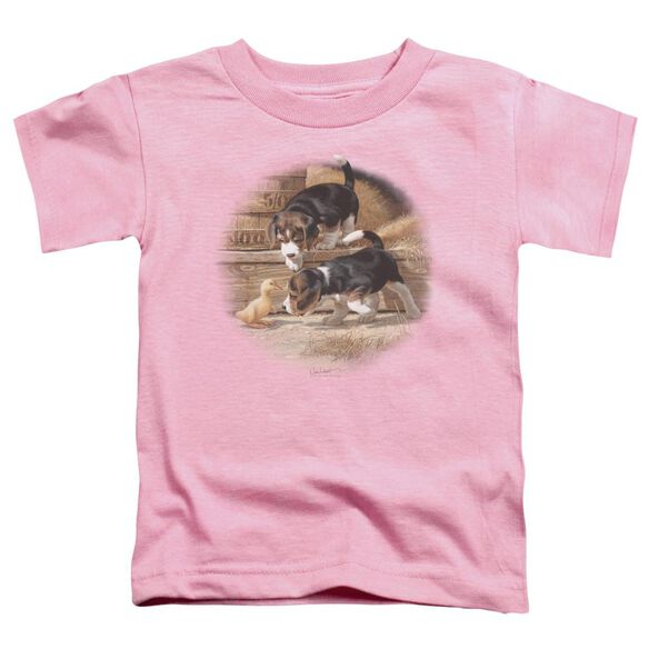 Wildlife Getting Acquainted Short Sleeve Toddler Tee Pink T-Shirt