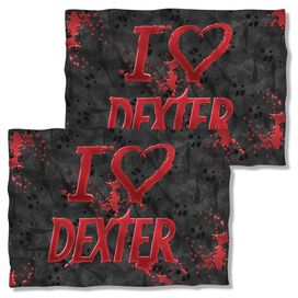 Dexter I Heart Dexter (Front Back Print) Pillow Case White