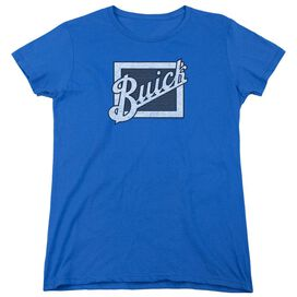 Buick Distressed Emblem Short Sleeve Womens Tee Royal T-Shirt
