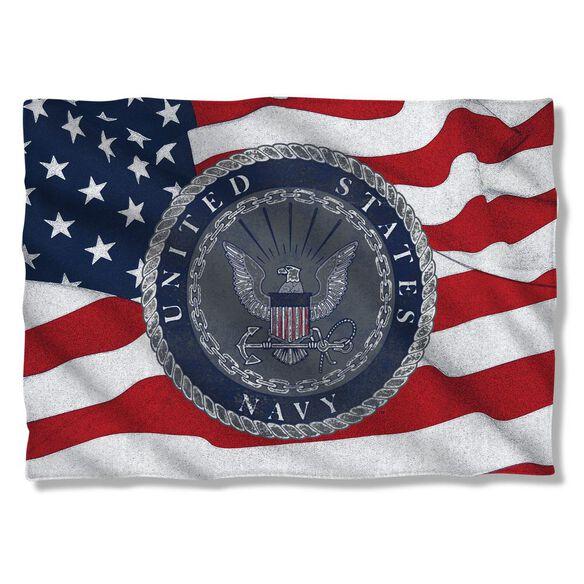 Navy Flag Seal Pillow Case White