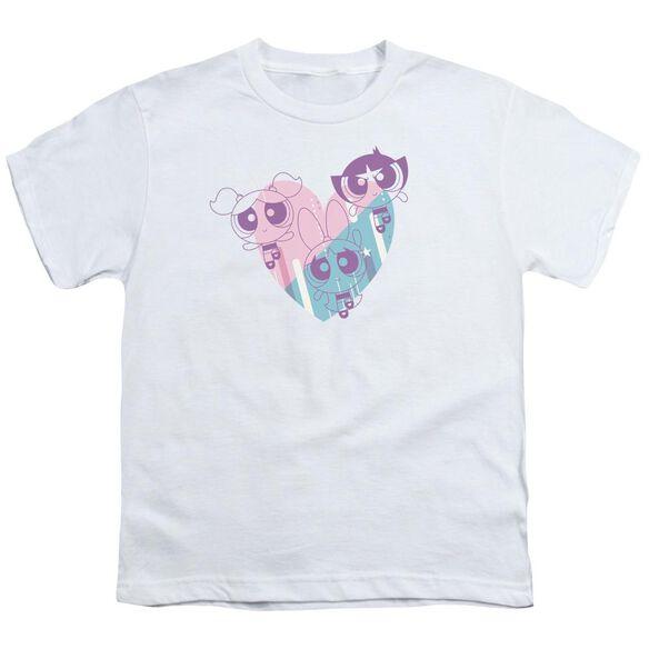 Powerpuff Girls Powerpuff Heart Short Sleeve Youth T-Shirt