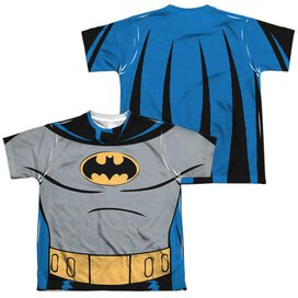 Batman The Animated Series Batman Uniform (Front Back Print) Short Sleeve Youth Poly Crew T-Shirt
