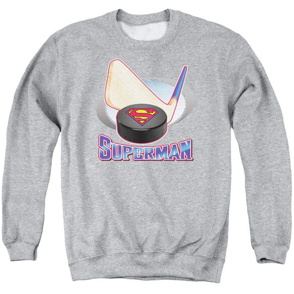 Superman Hockey Stick Adult Crewneck Sweatshirt Athletic