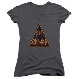 Def Leppard Distressed Logo Junior V Neck T-Shirt