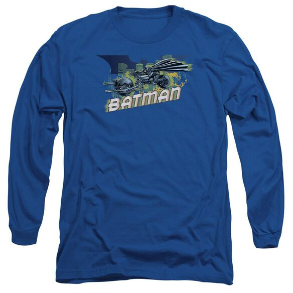 Dark Knight Rises Wheels On Fire Long Sleeve Adult Royal T-Shirt
