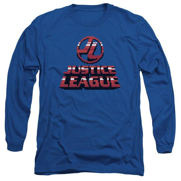 Jla 8 Bit Jla Long Sleeve Adult Royal T-Shirt