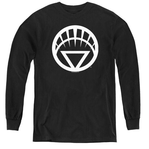 Green Lantern White Emblem - Youth Long Sleeve Tee - Black
