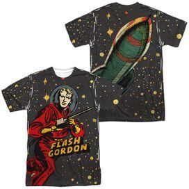 Flash Gordon Blast Off (Front Back Print) Short Sleeve Adult Poly Crew T-Shirt