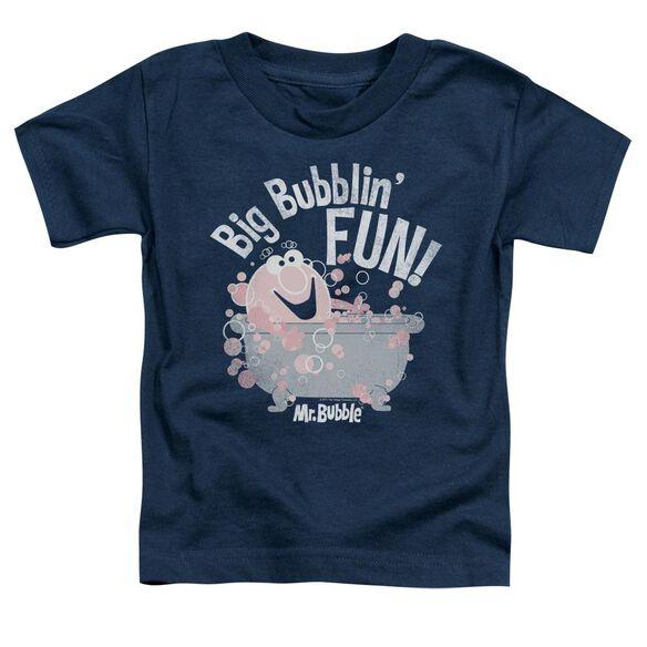 Mr Bubble Big Bubblin Fun Short Sleeve Toddler Tee Navy T-Shirt
