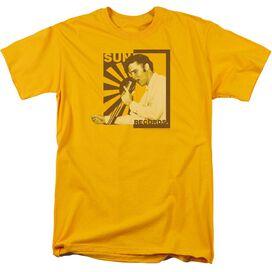 Sun Sun Records Slvis On The Mic Short Sleeve Adult Gold T-Shirt