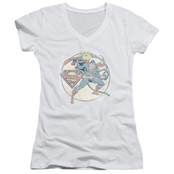 Dco Retro Superman Iron On Junior V Neck T-Shirt