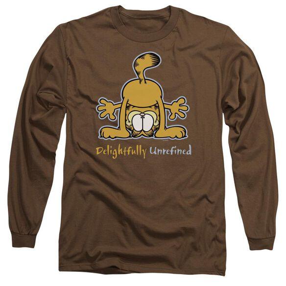 GARFIELD DELIGHTFULLY UNREFINED - L/S ADULT 18/1 - COFFEE T-Shirt