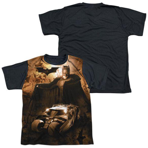 Batman Begins Batsmobile Short Sleeve Youth Front Black Back T-Shirt