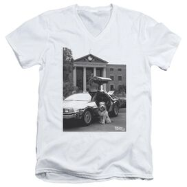 BACK TO THE FUTURE II EINSTEIN - S/S ADULT V-NECK 30/1 - White T-Shirt