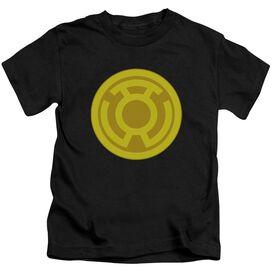 Green Lantern Yellow Symbol Short Sleeve Juvenile Black T-Shirt