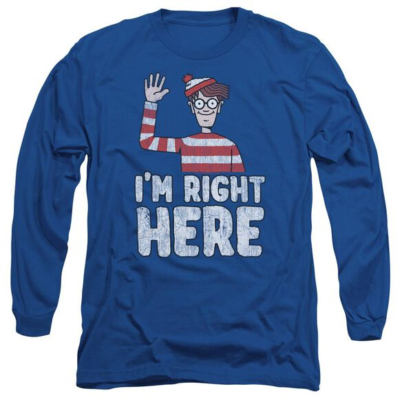 Wheres Waldo Im Right Here Long Sleeve Adult Royal T-Shirt
