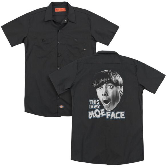 Three Stooges Moe Face (Back Print) Adult Work Shirt