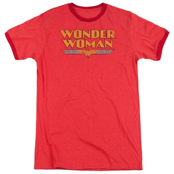 Dc Wonder Woman Logo Adult Heather Ringer Red