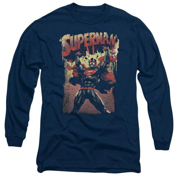Superman Lift Up Long Sleeve Adult T-Shirt
