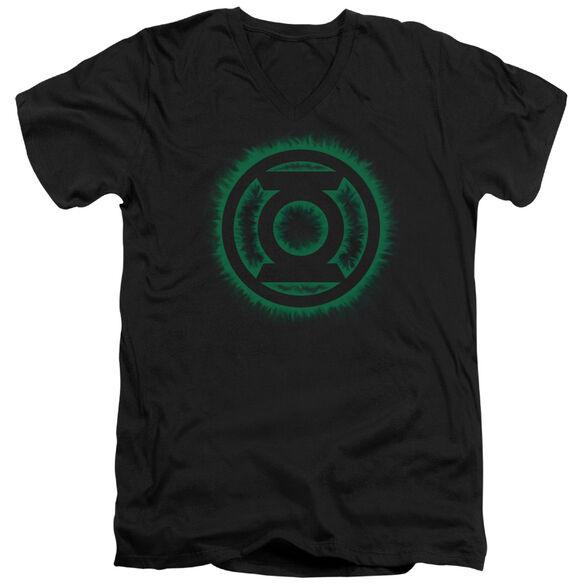 GREEN LANTERN GREEN FLAME LOGO - S/S ADULT V-NECK - BLACK T-Shirt