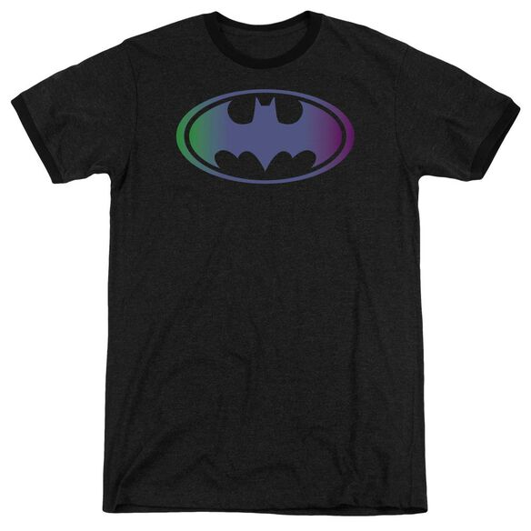 Batman Gradient Bat Logo - Adult Heather Ringer - Black