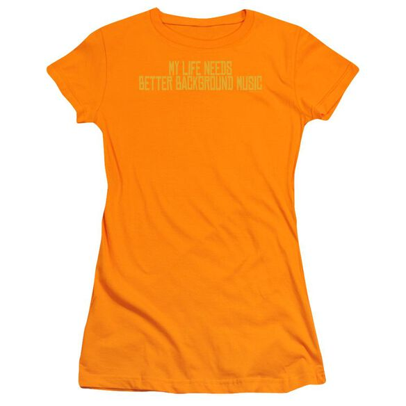 Better Background Music Short Sleeve Junior Sheer T-Shirt