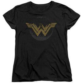 Wonder Woman Movie Distressed Logo Short Sleeve Womens Tee T-Shirt