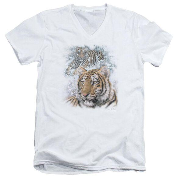 Wildlife Tigers Short Sleeve Adult V Neck T-Shirt
