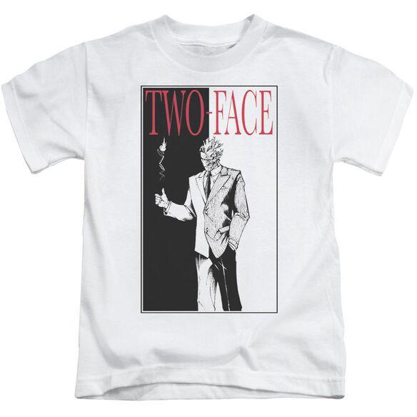 Batman Two Face Short Sleeve Juvenile White T-Shirt