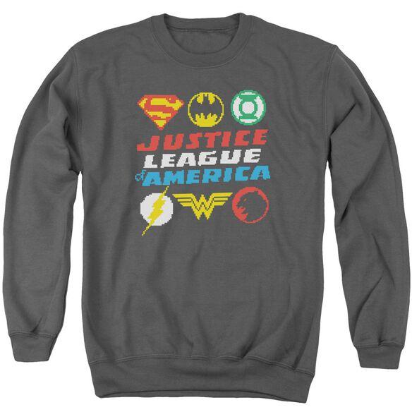 Jla Pixel Logos Adult Crewneck Sweatshirt