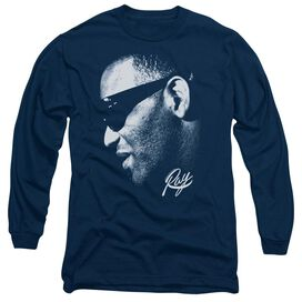 Ray Charles Blue Ray Long Sleeve Adult T-Shirt