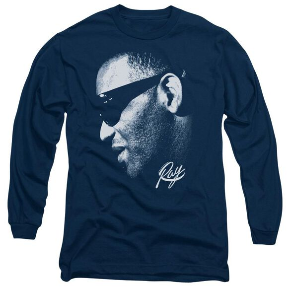 Ray Charles Blue Ray Long Sleeve Adult T-Shirt