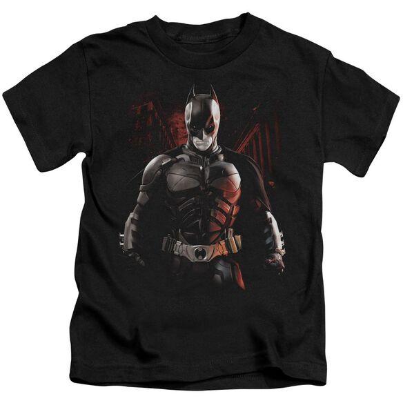 Dark Knight Rises Batman Battleground Short Sleeve Juvenile Black Md T-Shirt