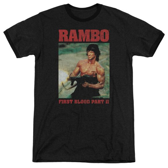 Rambo:First Blood Ii Dropping Shells Adult Heather Ringer Black