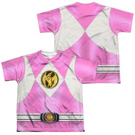 Power Rangers Pink Ranger Emblem (Front Back Print) Short Sleeve Youth Poly Crew T-Shirt